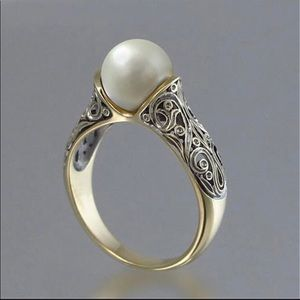STERLING GP VTG STYLE PEARL RING 7